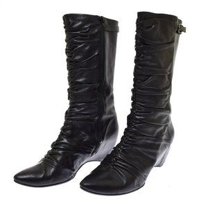 Biviel Black Leather Gathered Pointed Women's Boots Wedge Heel 39.5 US 9.5